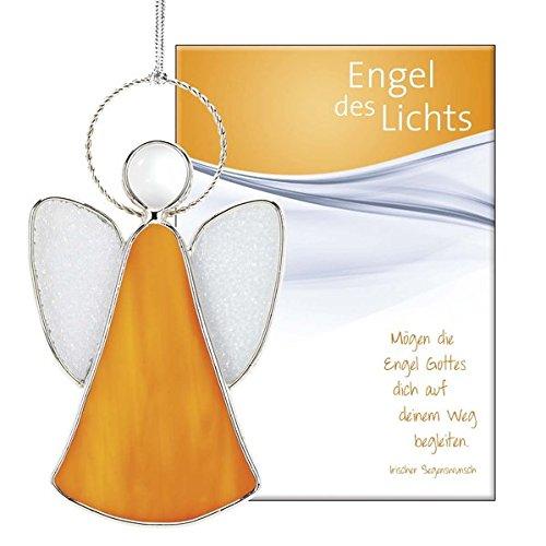 Engel des Lichts - Glasengel: Buntglas in Zinnrahmung, inkl. Grußkarte mit irischem Segen