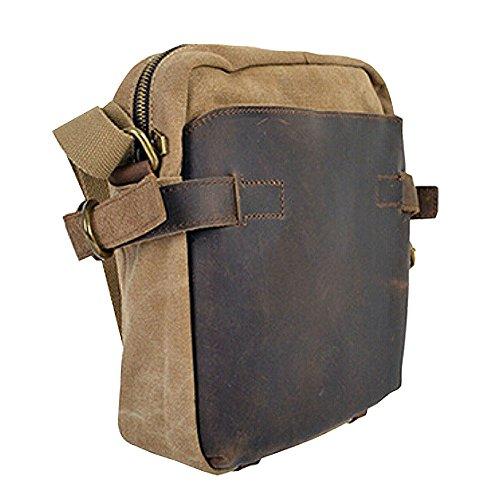 Paonies Unisex Damen Herren Canvas Leder Canvas klein Tasche Schultertasche Handtasche Umhängetasche (Blau) Khaki