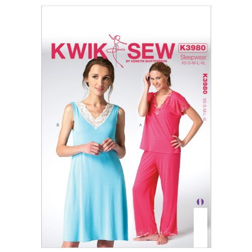 Kwik Sew Patterns K3980 Misses Tops/Nightgown and Pants Sewing Template, All Sizes by KWIK-SEW PATTERNS