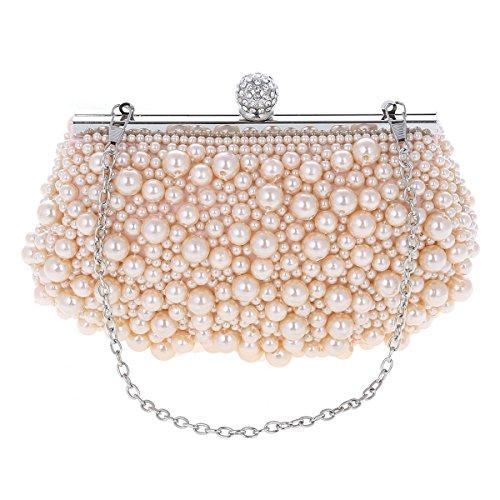 Damara® Ladies Perla Artificiale Piccola Clutch Da Sposa Damigella Donore Nera