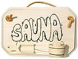 Kaltner Präsente Holz Schild Türschild aus Massivem Ahorn für die Sauna mit aufgeklebtem Kübel