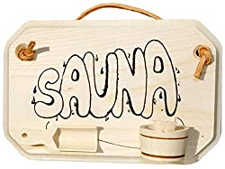 Door Plaque Solid Maple Wood for the Sauna, with Glued-On Decorative Plant Pot