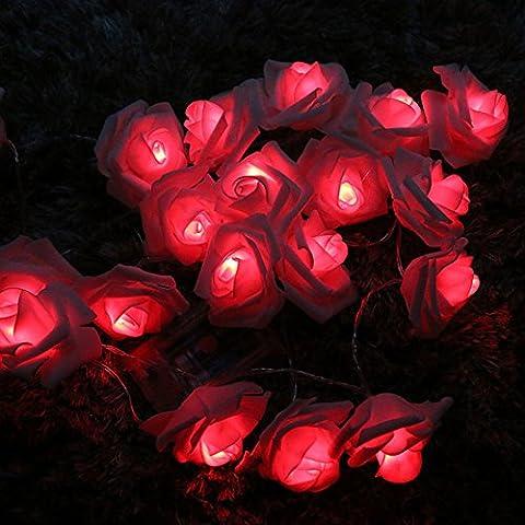 Stillshine - Lampes à cordes, 3M 30LED Batterie à fleurs en rose à la batterie Fairy Light pour fête de jardin de mariage Halloween Noël, bar, club, décoration intérieure - Minuterie par Festive Lights (Rouge)