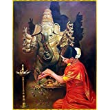 SAMRIDDHI Vinyl Premium Quality Glass Laminated Poster Lord Ganesh For Living Room