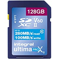 Integral UltimaPro Video Speed V60 UHS-II X2-SDXC-Speicherkarte, 64 GB, 280/100 Mb/s. 128 GB