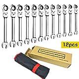 Lot de 12 clés à cliquet flexibles de 8 à 19 mm avec sac à rouleau.