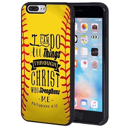 iPhone 7 Plus Fall, airwee Slim Kratzfest stoßfest Silikon TPU zurück Schutzhülle Fall für iPhone 7 Plus 14 cm, Philipper 4: 13 Softball Baseball Basketball Christian (Baseball Iphone 4 Fall)