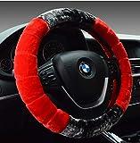 LIDIWEE Universal Auto Lenkradabdeckung Winter Warm Weiches Plüsch Lenkradbezug Handbremsabdeckung - 38cm