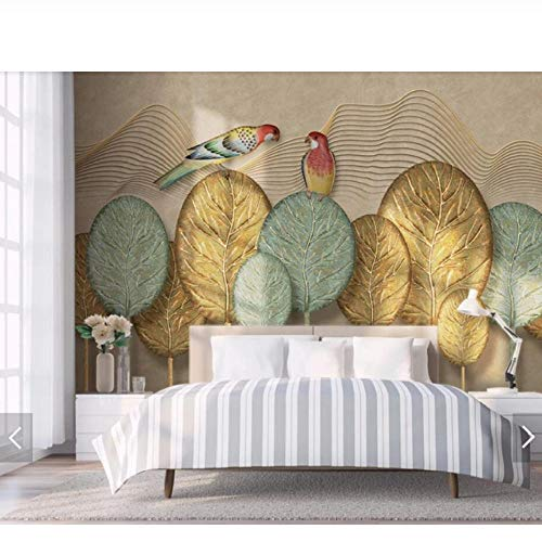 Wandbild Handgemalte Gold Tree Leaf Papagei Wallpaper Wandbild Wall Decor Wall Paper Rolls 3D Wandbilder Kontakt Papier Anpassen-400cmx280cm (Leaf Roll Gold)