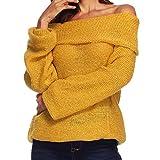 TianWlio Langarmshirt Bluse Sweatshirt Kapuzenpullover Damen Frauen Sexy Trägerloses Worthalsband Sweatshirt Einfarbig Lose Bluse