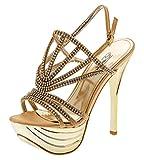 Shayenne Damen Knöchelriemchen Sandalette Sandalen Strass Stiletto High Heels Pumps Schuhe Plateau (39, Gold)