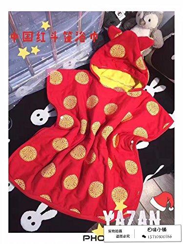 MangeooKinder mit Kappe, Badewanne, Badetuch, innentuch Abdeckung, saugfähige schwimmen Handtuch, rote chinesische Rote totem Mantel