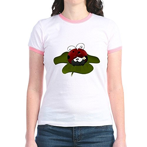 Truly Teague Jr. Ringer T-Shirt Cute Little Lady Bug Sitting on a Clover