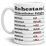 Tassendruck Geschenk-Tasse zum Ruhestand mit Wochenplan/Rente / Rentner/Pension / Abschieds-Geschenk/Weiss