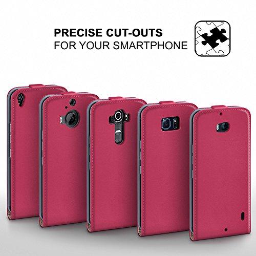 iPhone 6S Plus Hülle Schwarz [OneFlow 360° Klapp-Hülle] Etui thin Handytasche Dünn Handyhülle für iPhone 6 Plus / 6S + Plus Case Flip Cover Schutzhülle Kunst-Leder Tasche BERRY-FUCHSIA