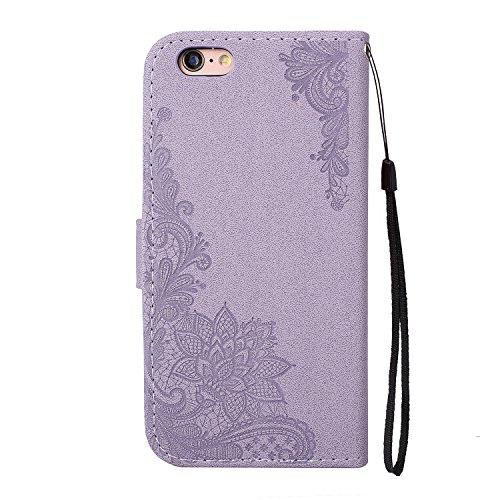 EKINHUI Case Cover Glitter Sparkles Flower Embossing Style PU Ledertasche Geldbörse Tasche mit weichem TPU Back Cover & Lanyard & Kickstand für iPhone 6 Plus & 6s Plus ( Color : Red ) Purple