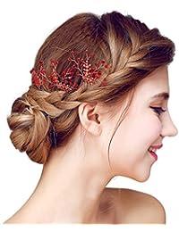 Yazilind botones de cabello nuptiaux flores aleación zorconia cúbico rojo  accesorios para pelo de boda mujeres 5b3cd488e786