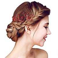 YAZILIND Bridal Hair Pins Alloy Flowers Red Cubic Zorconia Wedding Hair Accessories Women and Girls (Pack of 3)