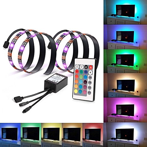 Kohree LED TV Backlight Bias Lighting Kits for HDTV USB Powered 2 RGB Multi Color Led Light Strip with Remote Control Home Theater Accent Lighting Kits (Reduce Eye Fatigue and Increase Image Clarity)