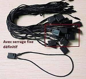 50 ex Attache cordon à serrage fixe noir pour étiquette a trou Attache cordelette fil noir à serrage fixe par clip définitif