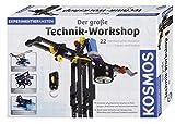 KOSMOS 628154 Der große Technik-Workshop, 22 mechanische Modelle bauen und testen, Experimentierkasten für Kinder