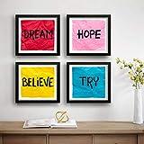 SAF Set of 4 Dream, Hope, Belive, Try Motivational UV Coated Home Decorative Gift Item Framed Painting 19 inch X 19 inch SAF_SET4_35