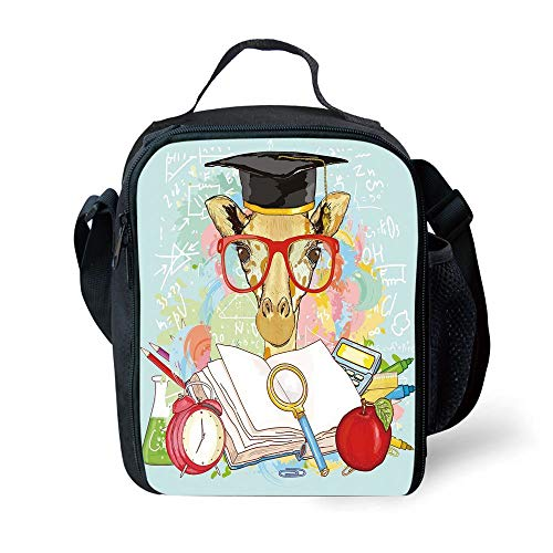 MLNHY School Supplies Graduation Decor,Hipster Giraffe Animal with Glasses and Cap Geek Student Education School Decorative,Multicolor for Girls or Boys Washable - Geek Dot