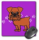 3dRose LLC 8 x 8 x 0.25 Inches Mouse Pad, Cute Brussels Griffon Purple Paw (mp_12067_1)