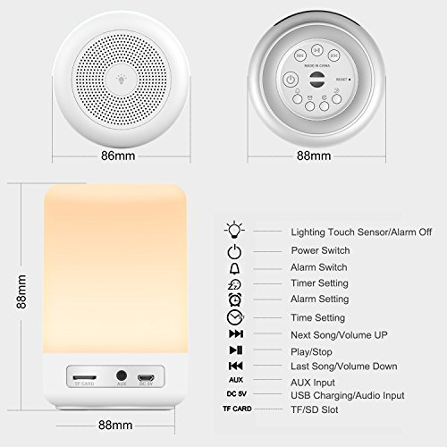 Touch Control Beside Lamp with Wireless Bluetooth Speakers, Yuanguo Wake Up Light Alarm Digital Clock Lamp with LED Dimmable Color Changing Night Mood Lights, Gift for Children, Family, Friends