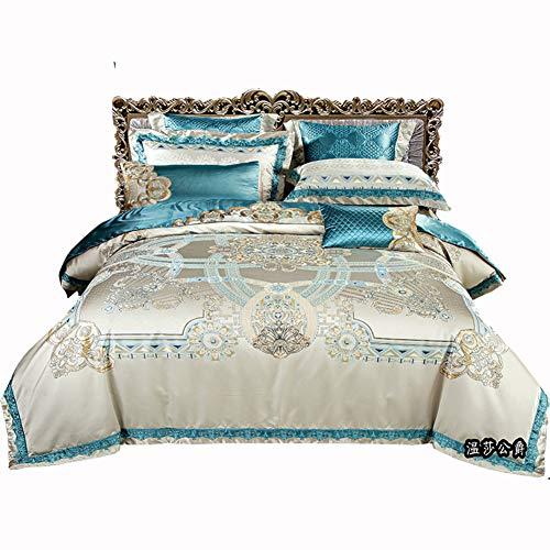 Komfort-räume Faux Seide Tröster, 8 stück Blue Baumwollsatin Floral Bedruckt King Size Falten Fade beständig Bettwäsche Set-A King -