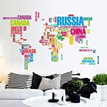 Clest F&H Map of the world Banksy Vinyl Quotes Wall Stickers decals for Nursery and kids room Free shipping 116cm*190cm 95AB by F&H Wall Sticker