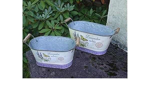 Übertopf Pflanztopf Blumentopf Eimer Lavendel lila grau Keramik