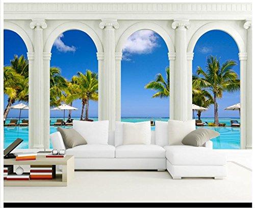 3D Wallpaper 3D Wandbilder Tapeten Hochland Blick Auf Das Mittelmeer Römische Säule Hintergrund Wand Dekor Der Zimmer 430 Cmx 300 Cm (Römisch-dekor)