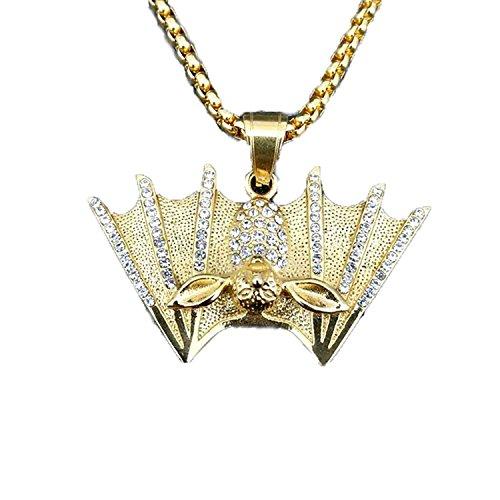 MCSAYS Halskette im Vampirstil, mit Zirkoniasteinen und Fledermausanhänger, 60cm lang, aus Edelstahl