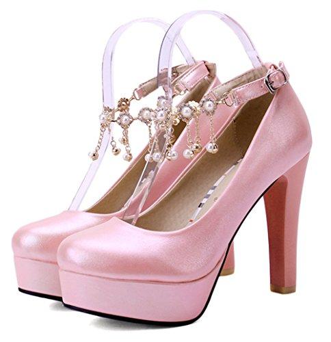 Aisun Damen Elegant Einfarbig Künstliche Perlen Troddel Trichterabsatz Pumps Mit Plateau Pink 40 EU ElNYJ6VokR