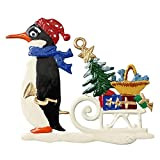 Pinguin mit Weichnachtsschlitten von Hand Bemalt aus Zinn, Christbaumschmuck, Weihnachtlicher Zierschmuck