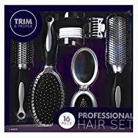Mr.Caller ® Professional 16 Piece Hair Brushes Brush Butterfly Clips Mirror Hair Bands Set Best Gift For Birthday Anniversary Xmas