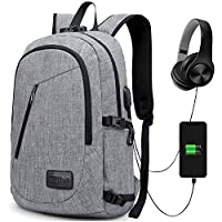 Anti-Theft Backpack, GIM Theft Business Laptop Backpack with USB Charging Port and Earphone Port with Lock Slim Water Resistant Bag Daypack 15.6 Inch Computer Rucksack for Work College (1-Grey)