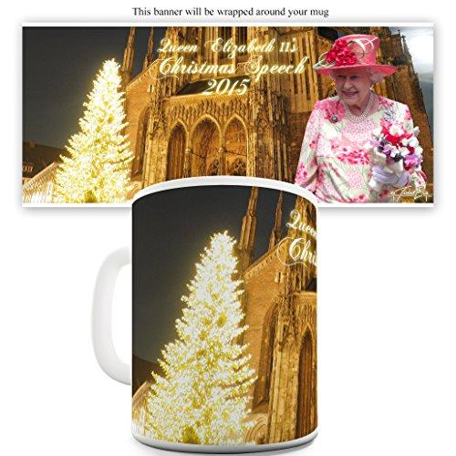 TWISTED ENVY Queen Elizabeth II Tasse mit Weihnachtsbaum-Sprechfunktion 15 OZ weiß