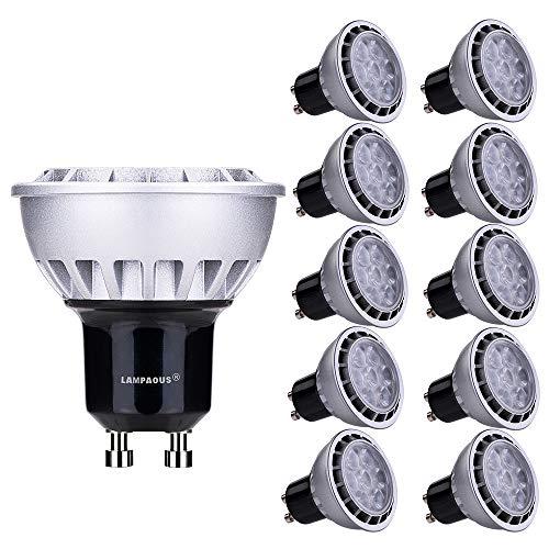 Lampaous® GU10 LED Lampe 7W, ersetzt 60W Halogen, warmweiß (3000K), 600lm 60° Abstrahlwinkel, LED Birnen, LED Leuchtmittel, LED Deckenlampen Strahler, LED Einbauleuchte,10er Pack