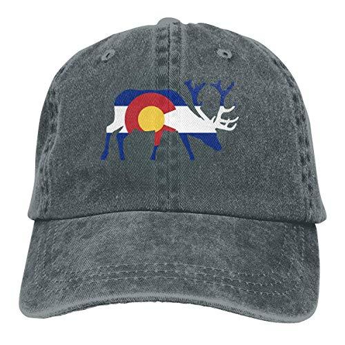 Hoswee Unisex Kappe/Baseballkappe, Elk Deer Colorado Flag Cowboy Cap Adjustable Trucker Baseball Hats Deep Heather