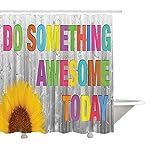 Yeuss zitiert die Dekor-Kollektion, tun Sie Heute etwas Awesome Sunflower auf Holzwand Holzverkleidung buntes Design, Polyester-Stoff-Bad-Duschvorhang, gelb rosa grün