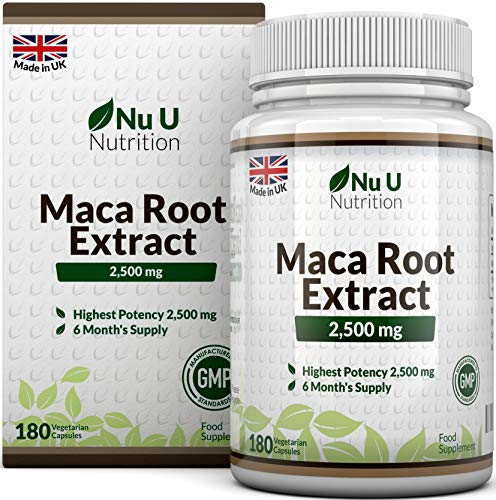 Maca Root 2500 mg - à base de racine de maca - Cure de 6 mois/180 Gélules - Compléments alimentaires de Nu U Nutritio
