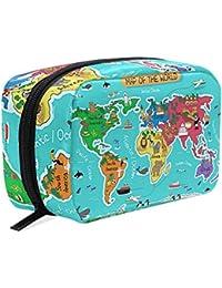 Bolsa de maquillaje con diseño de mapa del mundo, bolsa de aseo para mujer,