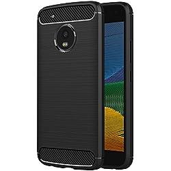 AICEK Coque Lenovo Moto G5, Noir Silicone Coque pour Motorola Moto G5 Housse (5,0 Pouces) Fibre de Carbone Etui Case