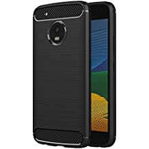 Funda Moto G5, AICEK Negro Silicona Fundas para Lenovo Motorola Moto G5 Carcasa (5,2 Pulgadas) Fibra de Carbono Funda Case
