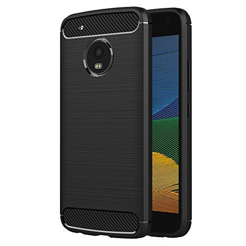 AICEK Funda Moto G5, Negro Silicona Fundas para Lenovo Motorola Moto G5 Carcasa (5,0 Pulgadas) Fibra de Carbono Funda Case