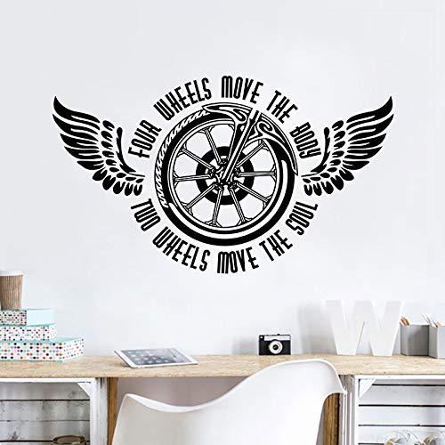 yaoxingfu Motorrad Wandtattoo Zwei Räder Bewegen Die Seele Zitat Wandaufkleber Vinyl Motorrad Wandbild NeueGestanzteVinyl Aufkleber Ay72x42 cm