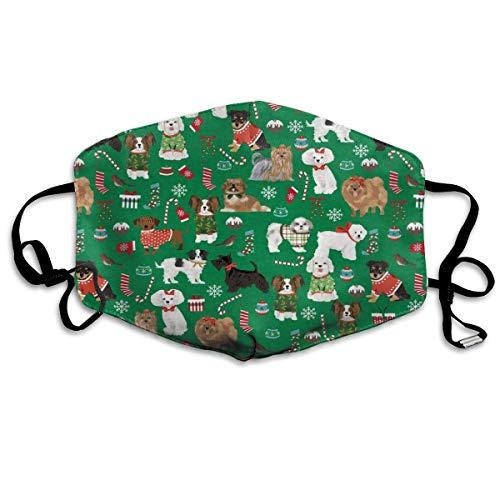 Vbnbvn Mundmaske,Wiederverwendbar Anti Staub Schutzhülle, Dust Face Mask for Dust Mouth Mask,Dog Christmas Green Anti-Dust Mask Adjustable Earloop Face Mask