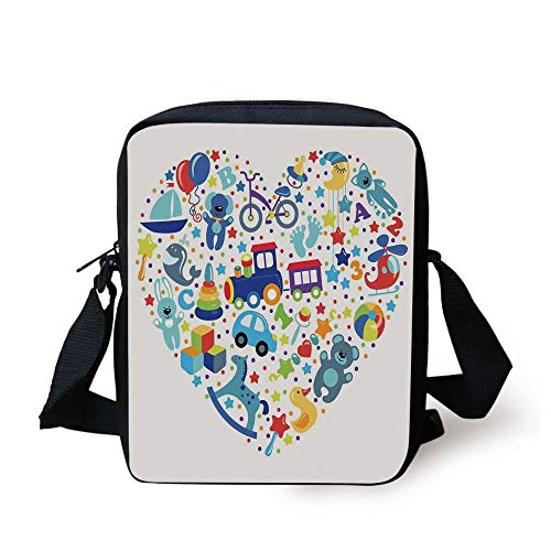 LULABE Boys Girls Room,Heart Shaped Collage of Toys for Newborn Baby Boy Train Alphabet,Blue Grey Print Kids Crossbody Messenger Bag Purse -